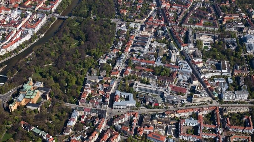 Luftbild vom Klinikum rechts der Isar