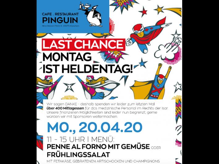Heldenmontage im Restaurant Pinguin: kostenloses Mittagessen für unser medizinisches Personal